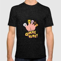 Cat Fingers - gimme 9! Mens Fitted Tee Tri-Black SMALL