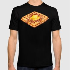 Waffle Pattern SMALL Black Mens Fitted Tee