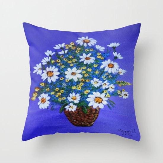 Flowers in the basket Throw Pillow