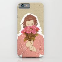 iPhone Cases featuring Flower Power - Salmon Red by Karu Kara