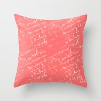 French Script On Coral Throw Pillow