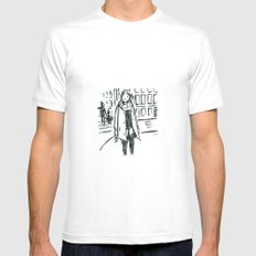 Brush Pen Fashion Illustration - Dreamer SMALL White Mens Fitted Tee