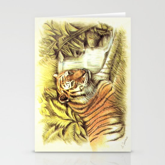 Tiger in the Jungle Stationery Card