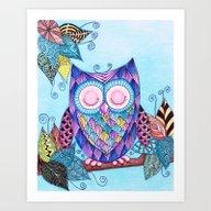 Sleepy Owl 2.1 Art Print