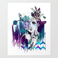 Tribal Girl - Colourway … Art Print