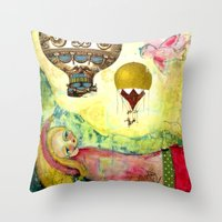 Flying Ballons Throw Pillow