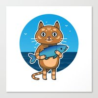 Cat & Fish Canvas Print