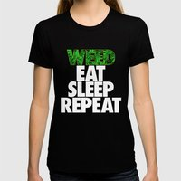 Weed Eat Sleep Repeat Womens Fitted Tee Black SMALL