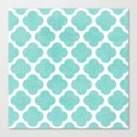 teal clover Canvas Print