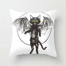 Batcat Rises Throw Pillow