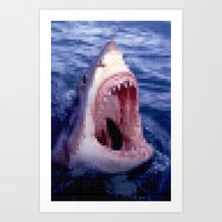 Shark - Jaws - Pixel Art Print
