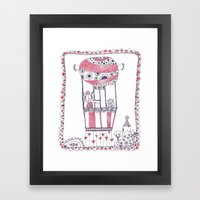 Two Owls in a Hot-air Balloon Framed Art Print