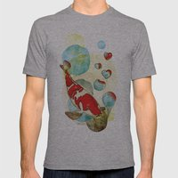 Koi Fish In Love Mens Fitted Tee Athletic Grey SMALL