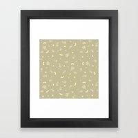 Floral on tan Framed Art Print