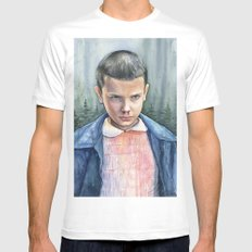 Stranger Things Eleven Portrait | Watercolor Painting SMALL Mens Fitted Tee White