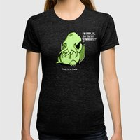 Prank Call of Cthulhu Womens Fitted Tee Tri-Black SMALL
