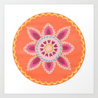 Suzani inspired floral 1 Art Print