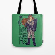 Tote Bag featuring Ghostbuster Goddess by Karen Hallion Illust…