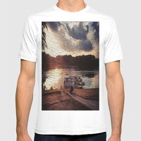 Oily Pontoons Mens Fitted Tee White SMALL
