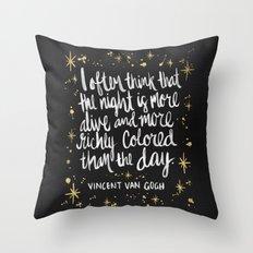 Night Owl On Gold Throw Pillow