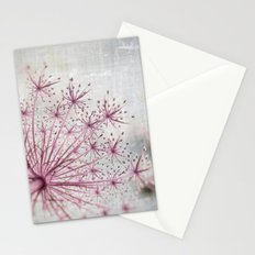 Vintage Raspberry Pink and Paris Gray Botanical Queen Anne's Lace Wildflower Stationery Cards
