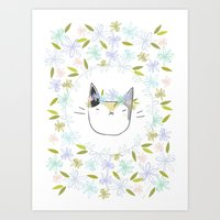 Calico Cat With A Flower… Art Print