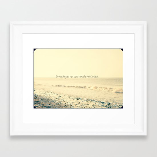 Eternity begins and ends with the ocean's tides. Framed Art Print