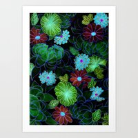Oriental Blossom (night … Art Print