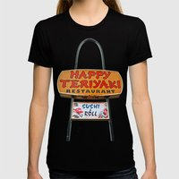 Happy Teriyaki Womens Fitted Tee Black SMALL