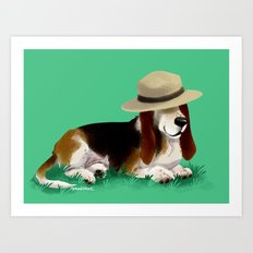 Spud the Basset Art Print
