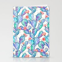 Rainbow Watercolor Cactus Pattern Stationery Cards