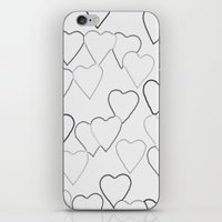 Black and White R Hearts iPhone & iPod Skin