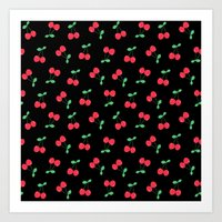 Cherries on Black Art Print
