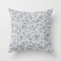 Shattered Ab Grey and White  Throw Pillow