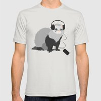 Music Loving Ferret Mens Fitted Tee Silver SMALL