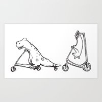 T-Rex and Pal Art Print