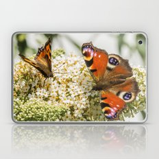 Peacock Butterfly With Painted Lady Behind Macro Photograph Laptop & iPad Skin