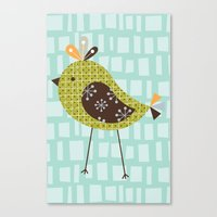 Canvas Print featuring Green Tweetie Bird by shiny orange dreams