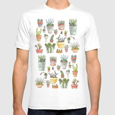 Potted Succulents SMALL Mens Fitted Tee White
