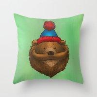 The Mustache Bear Throw Pillow