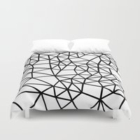Segment Dense Black On W… Duvet Cover