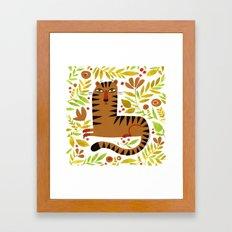 LEAFY TIGER Framed Art Print