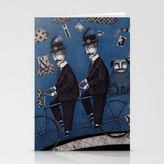 Two Men Travelling Stationery Card