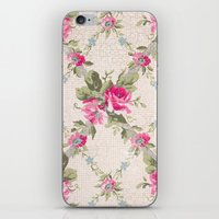 Vintage Pink Floral Lattice iPhone & iPod Skin