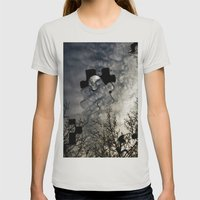 Sky Surrealism. Womens Fitted Tee Silver SMALL