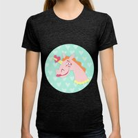 Unicorn Love At First Si… Womens Fitted Tee Tri-Black SMALL