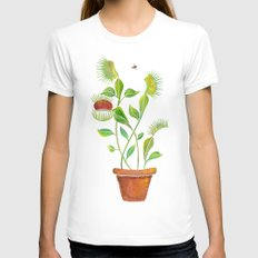 Venus Fly Trap Watercolor Womens Fitted Tee White SMALL