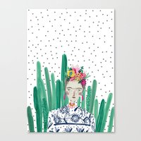 Frida Kahlo. Art, print, illustration, flowers, floral, character, design, famous, people, Canvas Print