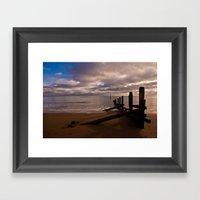 Groyne at Teignmouth Beach Framed Art Print