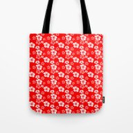 Red And White Turtles Ha… Tote Bag